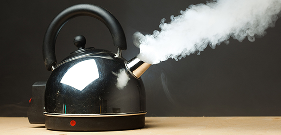 A steaming kettle