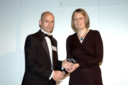 Elizabeth Bennett receiving her award