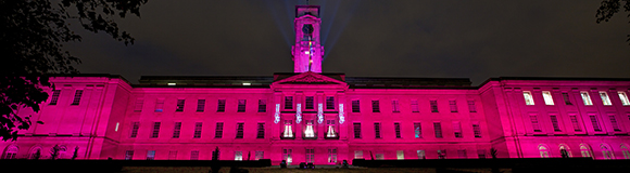 Trent building lit in pink for Breast Cancer Awareness Day