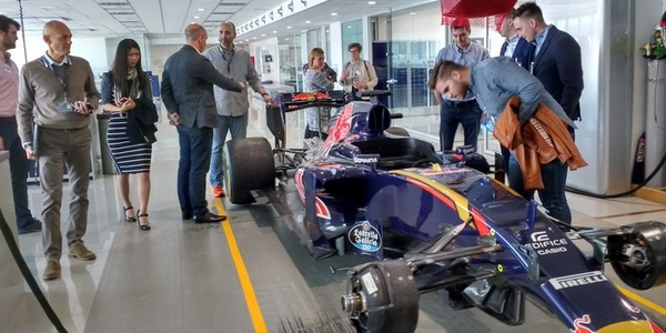 Staff and students visit the Toro Rosso factory